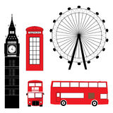 Set of London Attraction. In black and red colors Royalty Free Stock Photos