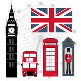 Set of London Attractions. Red, blue and black colored Royalty Free Stock Image