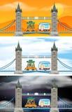 Set of London bridge scenes. Illustration vector illustration