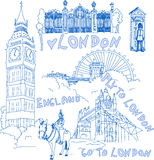Set of London doodles royalty free illustration