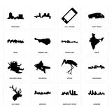 Set of london, kentucky state, elk head, stork, unicorn maryland, utah, cell phone, montana icons. Set Of 16 simple editable icons such as london, kentucky state Stock Photo