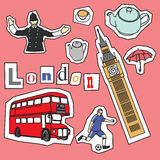 Set of London landmarks and icons Royalty Free Stock Photo