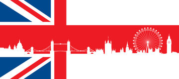 British flag  with very detailed  silhouette Londo Royalty Free Stock Photo