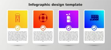 Set London phone booth, Football ball, Golf bag with clubs and Double decker bus. Business infographic template. Vector
