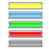 Set of long buttons with a silver border Royalty Free Stock Images