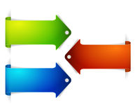Set of long colorful arrow bookmarks Royalty Free Stock Images