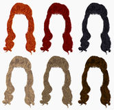 Set of long curly hairs  different colors .retro style .high hair styling Stock Images