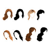 Set long hair  natural and silhouette Vector. Illustration without gradients Royalty Free Stock Photography