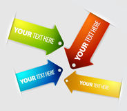 Set of long horizontal colorful arrow bookmarks Stock Images