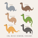 Set of Long necked browsing dinosaurs. Eps10 vector format Stock Images