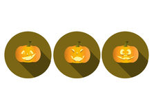 Set of long shadow pumpkins halloween icons Stock Image