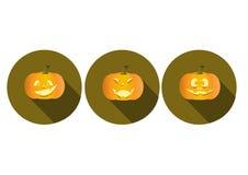 Set of long shadow pumpkins halloween icons.  Stock Image