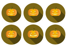 Set of long shadow pumpkins halloween icons Royalty Free Stock Photos