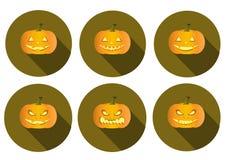 Set of long shadow pumpkins halloween icons. Set of long shadow pumpkins halloween Royalty Free Stock Photos