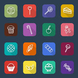 Set of long shadow sweets and candies icons, vector Stock Photography