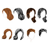 Set long and short hair  natural and silhouette Vector Stock Images