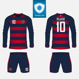 Set of long sleeve soccer jersey or football kit template for football club. Football shirt mock up. Front and back view soccer un. Iform. Flat football logo on Royalty Free Stock Photos