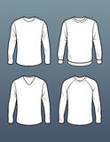Set of 4 long sleeve t shirt templates Royalty Free Stock Image