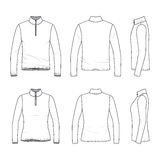 Set of long sleeved t-shirt with zipper. Front, back, side views of long sleeved t-shirt with zipper. Male and female clothing set. Blank vector templates Royalty Free Stock Image