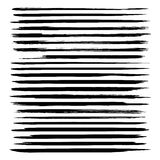 Set of long thin strokes of black paint Stock Images