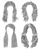 Set long woman hairs . black  pencil drawing sketch .   fashion beauty style. african cornrows   fringe curls cascade. Set long woman hairs  . black  pencil Stock Images