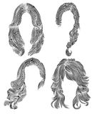 Set long woman hairs  . black  pencil drawing sketch .  women fashion beauty style curls cascade  plait. Stock Photo