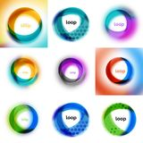 Set of loop, infinity business icons, abstract concept created with transparent shapes and blurred effects. Vector illustration Stock Images