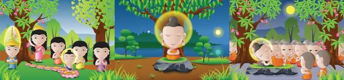 set of lord of Buddha born, enlighten and dead in cartoon version,used well for important days of Buddhism royalty free illustration