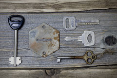 A set of lost keys and an old keyhole Stock Photos
