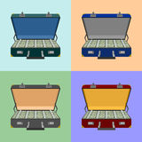 Set lot of money in a suitcase Royalty Free Stock Photos