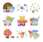 Set loteryjni bilety, bingo, loteryjka, ruleta, piłki z liczbami royalty ilustracja