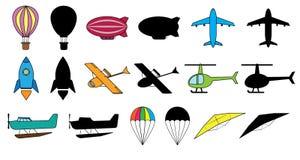 Set lotniczy odtransportowywa: balon, dirigible, samolot, astronautyczna rakieta, hydroplane, helikopter, hydroplan, spadochron,  ilustracja wektor