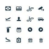 Set lotniskowe ikony Obrazy Stock