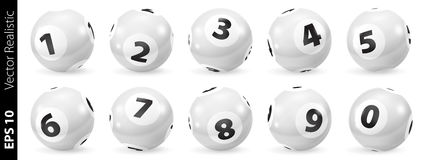 Set of Lottery Black and White Number Balls 0-9 Stock Images