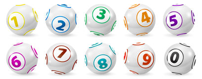 Set of Lottery Colored Number Balls 0-9 Stock Image