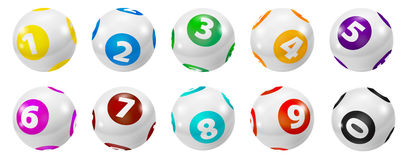 Set of Lottery Colored Number Balls 0-9 Royalty Free Stock Image
