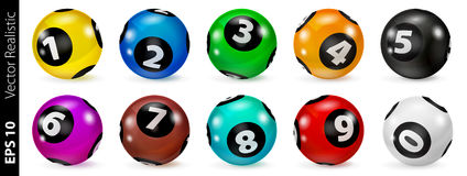Set of Lottery Colored Number Balls 0-9 Royalty Free Stock Photos