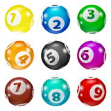 Set of Lottery Colored Number Balls Stock Photo