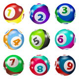 Set of Lottery Colored Number Balls Royalty Free Stock Images
