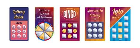 Set of lottery gambling tickets million, eight, bingo, tetris. Set of lottery tickets for raffle money, prizes. Gambling tickets million, eight, bingo, tetris vector illustration