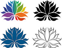Abstract symbols of lotus flower. Four illustrations of a symmetric lotus flower one in outline, one in blue, one in black and one multicolored, white background royalty free illustration