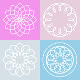 Set of lotus flower symbol and background. Vector line illustrat Stock Photo