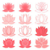Set of lotus flowers. lotus symbol or icon for spa salon, yoga class, hotel, resort or wellness industry. isolated on white backgr Royalty Free Stock Images