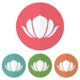 Set of lotus icon on a colorful circles. Vector illustration. Set  of lotus icon on a colorful circles. Vector illustration Stock Image