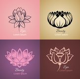 Set of lotus sign for spa. Lotus sign vector for spa, beauty salon, cosmetician, yoga class, hotel and resort stock illustration