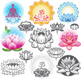 Set of lotuses Stock Photos