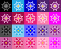 Set of lotuses performed a fills in various colors and hues Stock Image