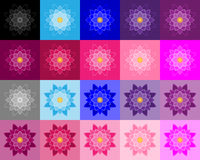 Set of lotuses performed a stroke and fills in various colors and hues Royalty Free Stock Photography