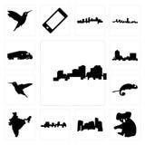 Set of louisiana outline on white background, koala, minnesota, jamaica, india, chameleon, hummingbird, montana, semi truck icons. Set Of 13 simple editable Stock Photography