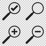 Set of loupe icon vector. Magnifier in flat style. Search sign c Royalty Free Stock Photography